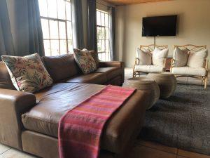 Leather sofa, TV, Cushions, Curtains, Chairs, Rug